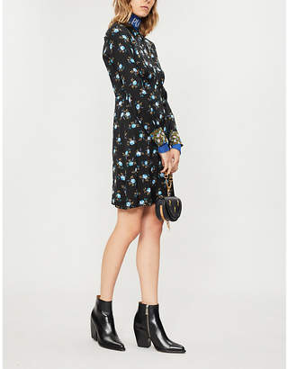 Sandro Floral-print satin dress