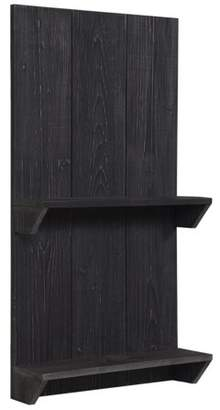 Gallery Solutions Rustic Distressed Black Wood Pallet Wall Shelf