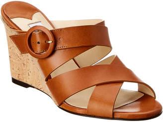 Jimmy Choo Delila 85 Leather Cork Wedge Sandal