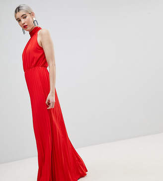 boohoo High Neck Pleated Maxi Dress