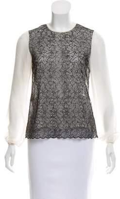 CH Carolina Herrera Silk Lace-Accented Top