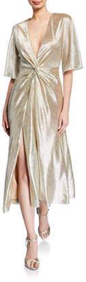 Galvan Shimmery Twisted Midi Dress