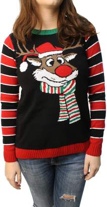 Co Christmas Ugly Sweater Ugly Christmas Sweater Junior's Reindeer Surprise Scarf Pullover Sweatshirt