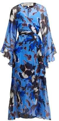 Diane von Furstenberg Lizella Floral Print Silk Dress - Womens - Blue Print