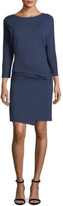 Halston 3/4-Sleeve Dress with Tie Detail