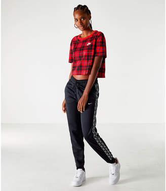 Nike Women's Sportswear Plaid Cropped T-Shirt