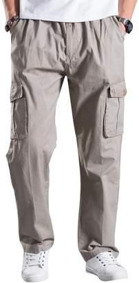 Mesinsefra Men's Full Elastic Waist Cargo Pants 6XL