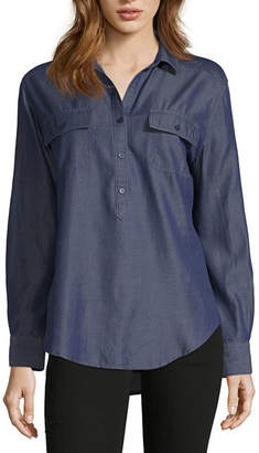 Liz Claiborne Womens Collar Neck Long Sleeve Button-front Shirts