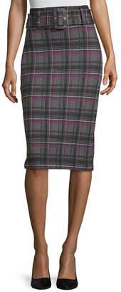 WORTHINGTON Worthington Womens Ponte Belted Pencil Skirt