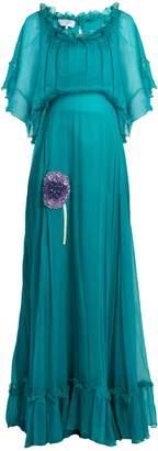 Luisa Beccaria Bead-embellished silk-georgette dress