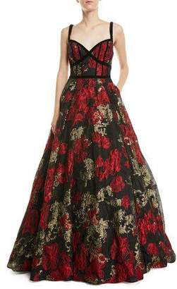 Jovani Floral Jacquard Sleeveless Ball Gown