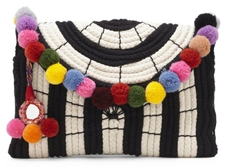Vince Camuto Sevil – Striped Pompom Clutch $148 thestylecure.com