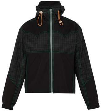 Boramy Viguier - Hooded Check Print Cotton Twill Jacket - Mens - Black