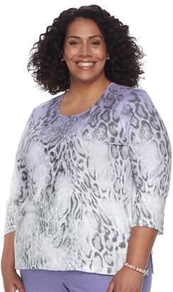 Plus Size Alfred Dunner Studio Ombre Leopard Print Top