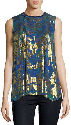 Elie Tahari Elle Sleeveless Metallic Floral Blouse