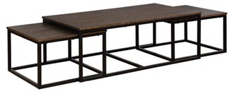 """Alaterre Furniture Arcadia Acacia Wood 54"""" Coffee Table with Nesting Tables, Antiqued Mocha"""