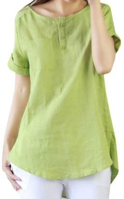 Change_shirts Summer Blouse, Women Short Sleeve Loose Cotton Linen Blouse Tops Changeshopping (XXXL, )