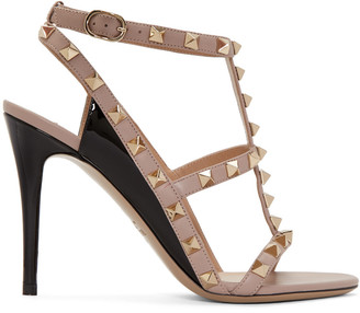 Valentino Black Rockstud Cage Sandals $1,095 thestylecure.com
