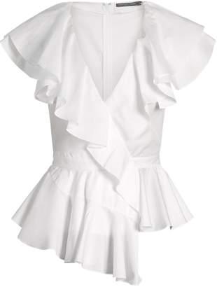 Alexander McQueen Ruffle-trimmed peplum-waist cotton top