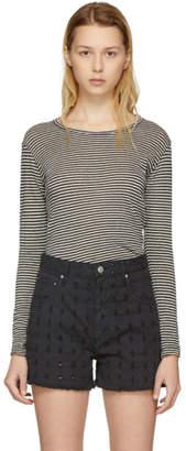 Etoile Isabel Marant Ecru and Black Striped Kaaron T-Shirt