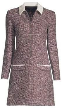 Maje Textured Zip-Front Mini Dress