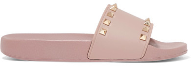 Valentino - The Rockstud Faux Leather Slides - Blush