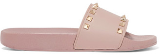 Valentino - The Rockstud Faux Leather Slides - Blush $325 thestylecure.com