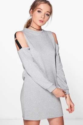 boohoo O Ring Cold Shoulder Sweat Dress