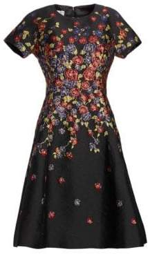 Teri Jon by Rickie Freeman Embellished Metallic Fit-&-Flare Dress