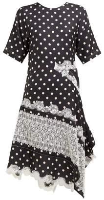 Koché Asymmetric Patchwork Polka Dot And Lace Midi Dress - Womens - Black White