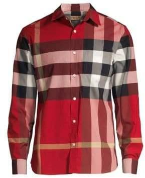 Burberry Giant Plaid Core Stretch Button-Down Shirt