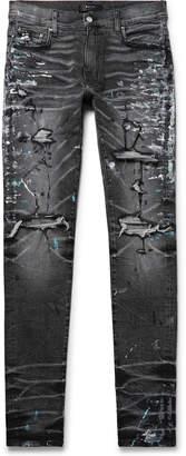 Amiri Skinny-Fit Distressed Paint-Splattered Stretch-Denim Jeans