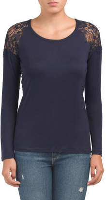 Long Sleeve Top With Lace Shoulders