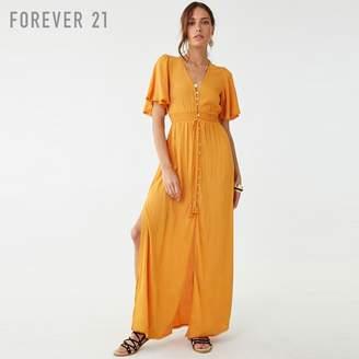 Forever 21 (フォーエバー 21) - Forever 21 クロシェトリムロングワンピース