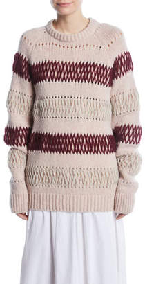 Calvin Klein Crewneck Floating-Knit Cross Stitch Wool Sweater