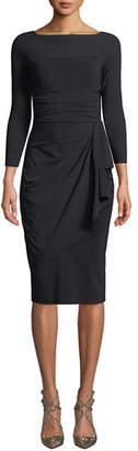Chiara Boni Annikette Body-Con Dress w/ Draped Skirt