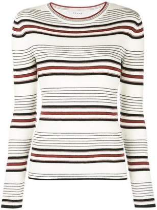 Frame Thin Striped Crew Neck Sweater
