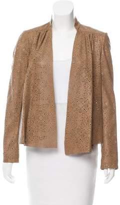 Alice + Olivia Leather Open Front Jacket