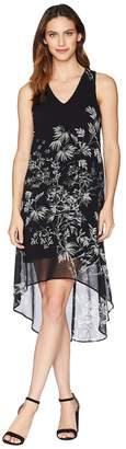 Karen Kane Sketched Floral Hi-Lo Hem Dress Women's Dress