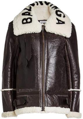 Balenciaga Shearling and Leather Jacket with Logo Collar