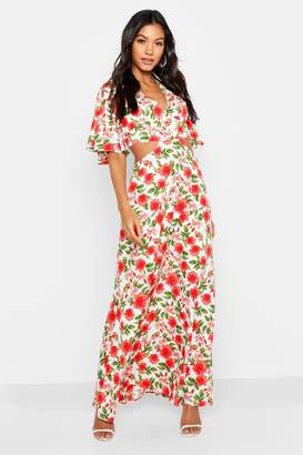 boohoo Floral Lace Up Back Maxi Dress