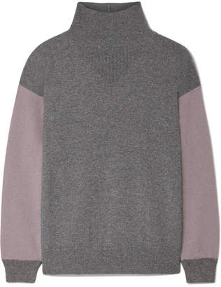 Agnona Two-tone Cashmere Turtleneck Sweater - Dark gray
