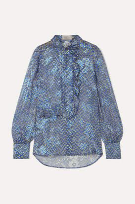 Preen by Thornton Bregazzi Athena Ruffled Printed Devoré-chiffon Blouse - Blue