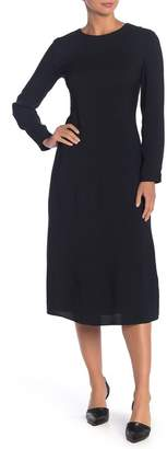Theory Solid Cady Long Sleeve A-Line Dress