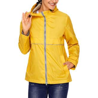 SUNDAY ROSE Women Lightweight Hooded Jacket Windproof Running Windbreaker Jacket