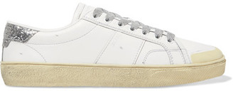 Saint Laurent - Court Classic Glitter-trimmed Leather Sneakers - White $620 thestylecure.com