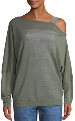 Brunello Cucinelli One-Shoulder Long-Sleeve Linen Sweatshirt