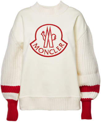 Moncler Cotton Pullover with Virgin Wool Sleeves