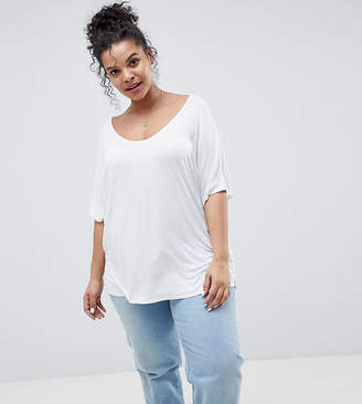 Asos DESIGN Curve t-shirt with drapey batwing sleeve in white