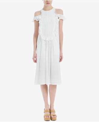 Max Studio Cotton Pleated Cold-Shoulder Dress $118 thestylecure.com